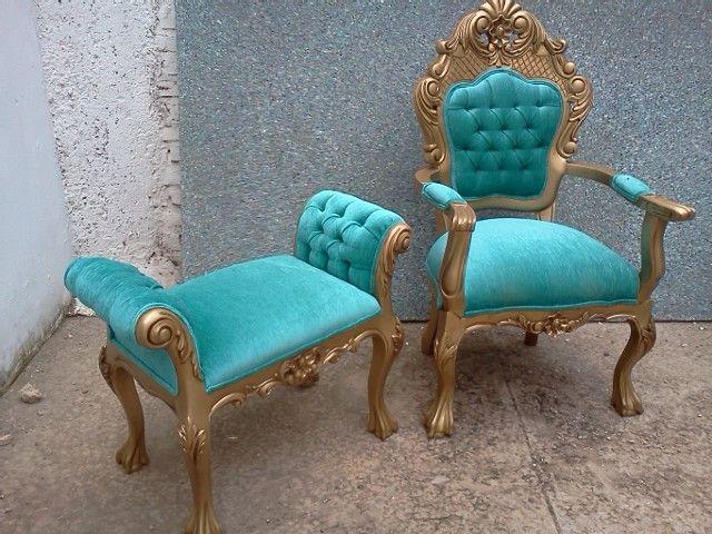 Sillon mod victoria en laka color oro banquita capitoneada for Muebles de oficina luis xv